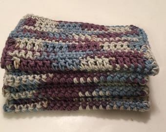 4 Large dish cloths/ dish rags/ wash cloths made with 100% cotton yarn in the color Twilight Multi
