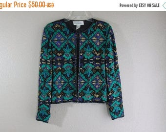 SALE vintage teal and black sparkle beaded jacket- hipster couture