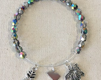 South Carolina Inspired Beaded Adjustable Charm Bracelet