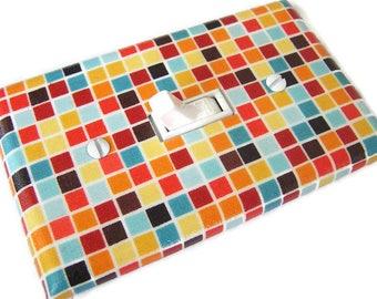 RETRO MINI TILES Light Switch Cover Plate Switchplate Retro Decor Mid Century Modern Decor