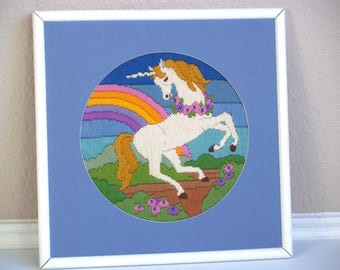 vintage 80s EMBROIDERED UNICORN rainbow PICTURE colorful square wall hanging plaque kitschy home decor art