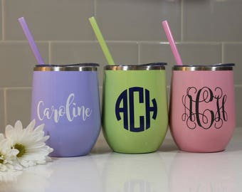 Monogram Stemless Wine Tumbler - Stainless Steel Wine Glass - Wine Tumbler with Straw - Beverage Tumbler - Wine Glass - Travel Cup