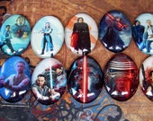 Star Wars Fan Art Mix (L39)  Rey, Kylo Ren and Luke Skywalker Art, Jewelry Craft Supply, 10 Pieces, Digital Image Under Glass Cabochon