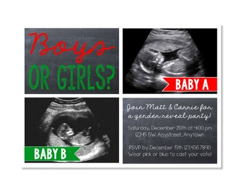 Twin Christmas Gender Reveal Invitation