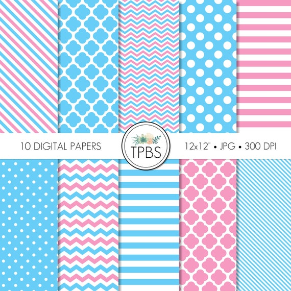 Pink And Blue Scrapbook Digital Paper Baby Shower Digital Paper Digital Paper Digital Paper Pack Digital Scrapbook Paper Patterned Paper By The Paper Blossom Shop Catch My Party