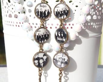FREE SHIPPING The Beatles Handmade Resin Dangle Earrings - B&W - Guitar Earrings - The Beatles Jewelry - Gift Ideas - For Her