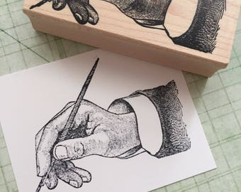 Hand Writing a Letter Rubber Stamp 4472