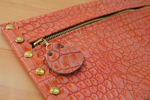 Leather clutch,alligator purse,leather purse bag,coral leather clutch,coral handbag,leather clutches,coral leather bag,leather clutch bag