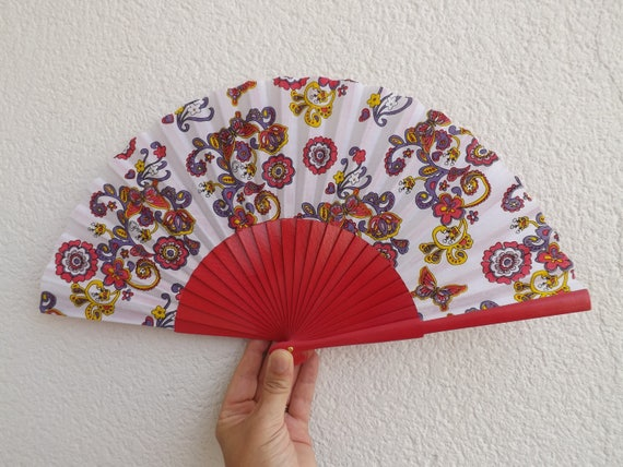 Hot Pink Paisley Design Spanish Hand Fan Limited Edition