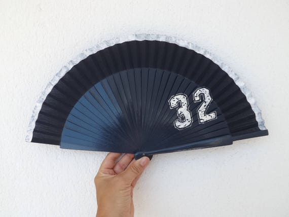 Navy White Number Hand Fan