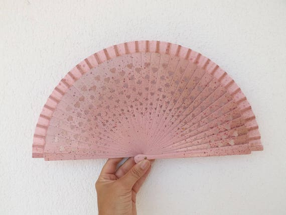 Lucky Shamrock Pink Gold Hand Fan
