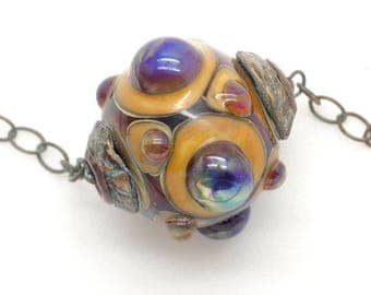 Ancient Jeweled Lampwork Focal Bead