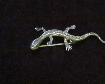 Vintage Sterling Silver Lizard Brooch / Marcasite Sterling Pin Small