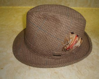 vintage mens hat fedora stetson tweed