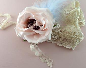 Shabby chic bohemian bridal headband. Blue feathered headpiece. Bohemian flower wedding headpiece in blue and pink. Handmade wedding.