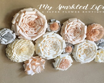 Paper Flowers Wall Decor - Wedding Decor - Home Decor - Paper Flower Backdrop - Pink - White - Paper Flowers - Photo Shoot - Backdrop