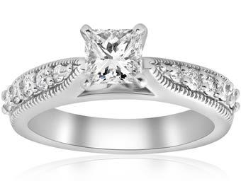 Diamond Engagement Ring, 1 3/8ct Vintage Princess Cut Diamond Engagement Ring Art Deco 14k White Gold