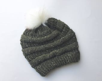 Hat faux fur Pom pom pure wool tweed slouchy beanie moss olive green hand knitted