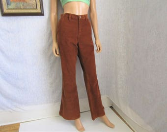 """90s 10 33"""" x 32"""" American Eagle Painter Cords Corduroy Bell Bottoms Flares Jeans PANTS Rust"""