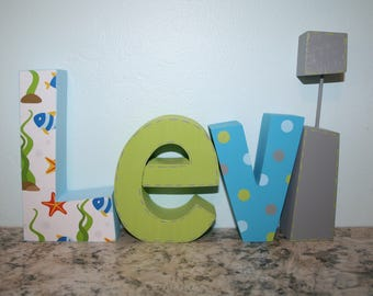 Wooden letters for nursery, Ocean decor, Boy nursery decor, 4 letter set, Wood letters, Photo prop, Nursery name letters, Wooden name