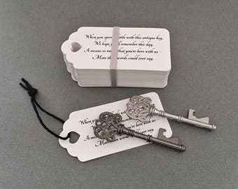 "Skeleton Key BOTTLE OPENERS + ""Poem"" Thank-You Tags – Wedding Favors set of 100 - Ships from United States - Silver & Black"