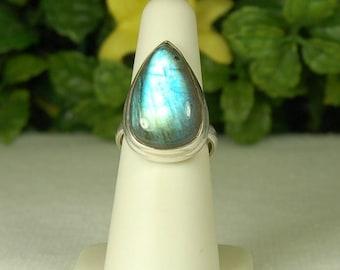 Labradorite Ring, Size 7, Spectrolite, Blue Flash, Bold Pear Shape, Sterling Silver, Natural Labradorite, Blue Labradorite
