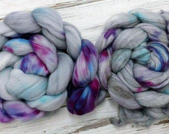 2017 Third Quarter SAL Spin-A-Long Spinning Fiber Combed Top Roving Vintage Funk Gray Purple Pink Aqua Turquoise
