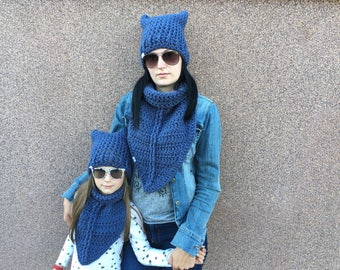 Crochet Scarf / Crochet Hat / Matching mother daughter scarf and hat / Matching scarf hat / chunky scarf / chunky hat / Mom and me