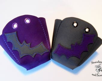 Purple and Black Leather Roller Derby Skates Toe Guards with Bats
