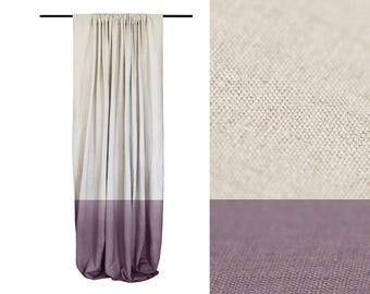 Window curtain, Linen curtain panel, Color block curtains, Rod pocket curtains, Light purple - Sand brown