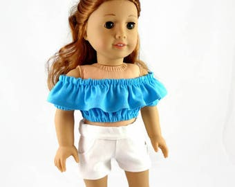 18  inch doll clothes,  Shorts, Peasant Top, designed to fit like American Girl® doll clothes, AG doll clothes, Summer clothes