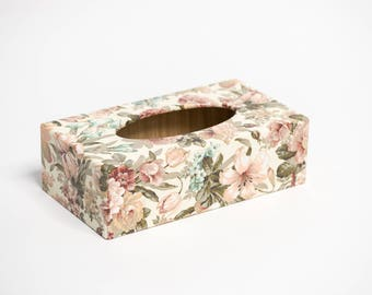 Vintage Floral Long Tissue Box Cover handmade in UK wooden perfect gift
