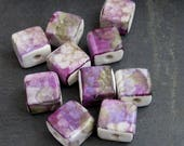 10 Small Purple Green Floral Glazed Square Flat Clay Beads