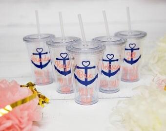 Anchor tumbler, 1 bridesmaids gift, nautical themed wedding or Bachelorette favor. Heart anchor glasses, beach or pool cups. Bridesmate idea