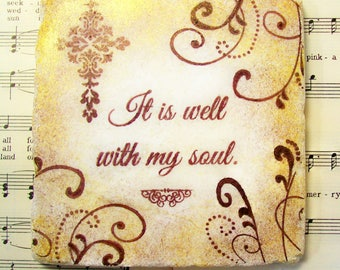 It is Well with My Soul, Christian Art, Set of 10, Christian Coasters in Espresso and a Touch of Gold