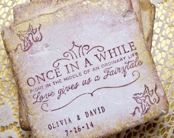 50 Fairy Tale Coasters, Personalized Wedding Gift Once in a While Right in the Middle of an Ordinary Life, Wedding Registry