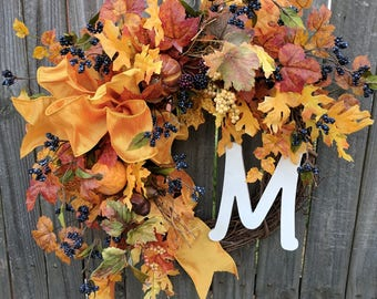 Fall Wreaths,Wreath for Door,Front Door Wreath,Monogram Wreath,Fall Porch Wreath,Grapevine Wreath,Pumpkin Wreath,Halloween Wreath