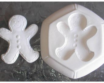 NIce big Gingerbread Man Frit Stained glass fusing kiln jewelry mold