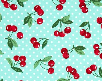 """Tab top Mint CHERRIES Print  Valance  40"""" x 16 1/2""""  Long Choose lined or unlined Mint"""