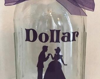 Wedding Reception Dollar Dance 1 Quart Mason Jar Beauty and the Beast Cinderella Honeymoon Fund