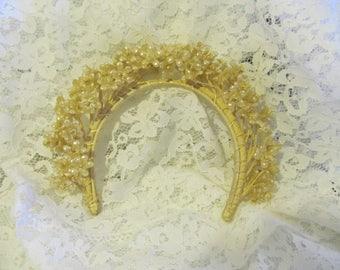 SALE-Antique/Vintage Wax Flower Wedding Bridal Headpiece - Orange Blossoms
