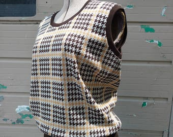 Vintage Houndstooth Checked Vest Size Large