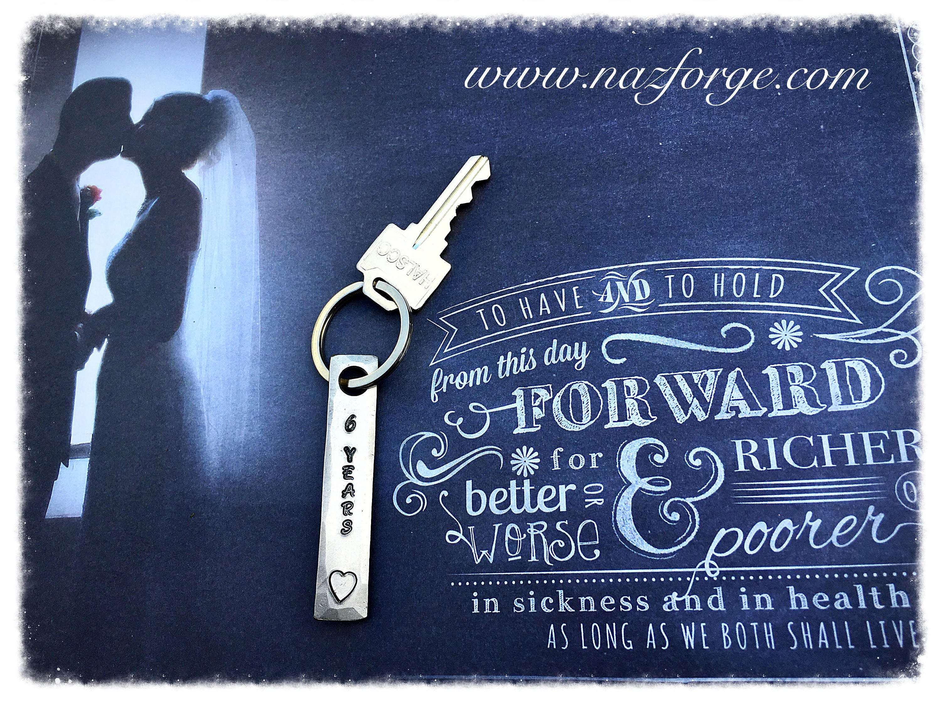 Wedding Anniversary Gifts 6 Years: 6th Year Iron Wedding Anniversary Keychain Gift Idea For