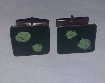 Vintage mid century modern enameled copper Cufflinks
