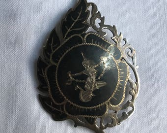 Vintage Sterling Silver Siam Brooch With Niello Goddess Design