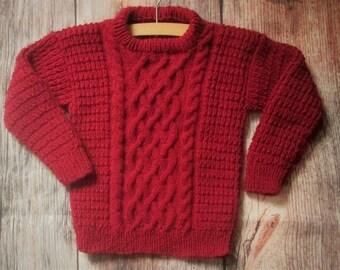 Dark red burgundy handknit thick warm aran cable boys girls childs unisex kids round neck sweater jumper OOAK.