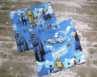 """Vintage Star Wars Empire Strikes Back Fabric Curtains 21"""" X 43"""" Short Lot Of 2"""