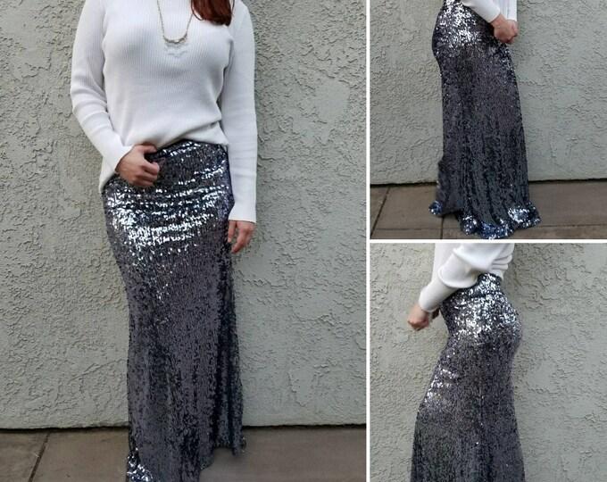SALE til 11/23 New! Shiny Gunmetal Maxi -Gorgeous high quality sequins- Long sequined skirt  (Handmade in LA!) Runs snug