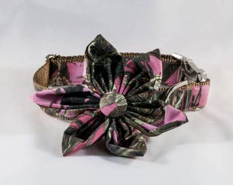 Camo Sporting Pup Pink Girl Dog Flower Bow Tie Collar--Brown