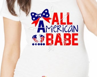 All American Babe Pregnancy Shirt. 4th of July Pregnancy Top. Fourth of July Pregnancy Announcement.